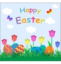 Several colorful eggs and tulips in green grass vector