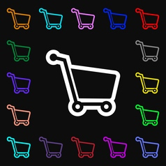 Shopping cart icon sign Lots of colorful symbols vector image