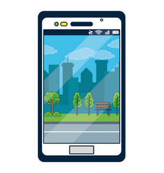 Smartphone with park background on screen vector