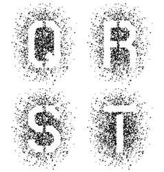 Stencil angular spray font letters Q R S T vector