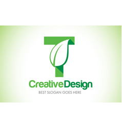 t green leaf letter design logo eco bio leaf vector image