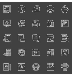 Tax white line icons vector image