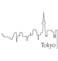 tokyo city one line drawing vector image