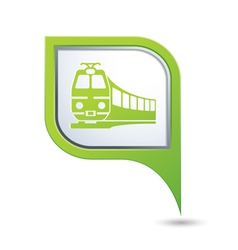 train icon on green map pointer vector image