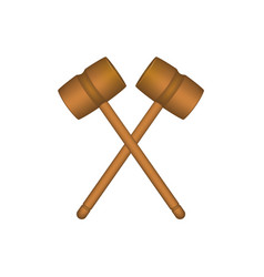 two crossed wooden mallets in brown design vector image
