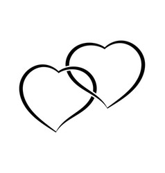 two hearts as one simple doodle vector image