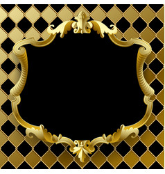 Vintage gold frame with black field on rhomboids vector