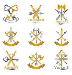 vintage weapon emblems set heraldic signs vintage vector image