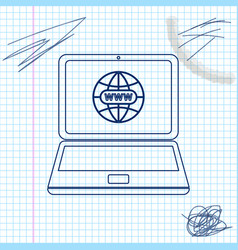 Website on laptop screen line sketch icon isolated vector