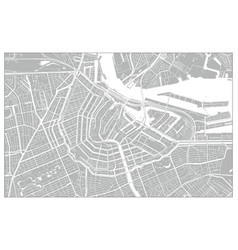white and grey city map amsterdam vector image