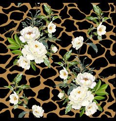 White peonies on spotted background vector