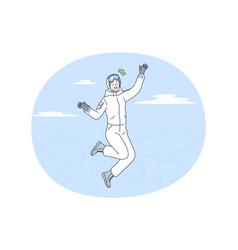 winter activities skiing snowboarding concept vector image