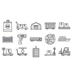 world goods export icons set outline style vector image