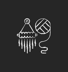 yarn wall hangings chalk white icon on dark vector image