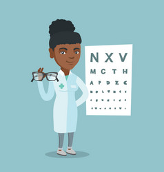 Young african ophthalmologist holding eyeglasses vector