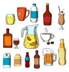 Assorted beverages alcohol and drinks vector image vector image