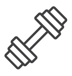 barbell line icon fitness and sport dumbbell vector image