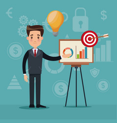 color background analytics investment with vector image vector image