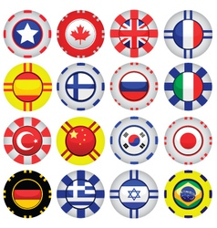 flags on casino tokens vector image vector image