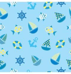 marine kid seamless pattern vector image