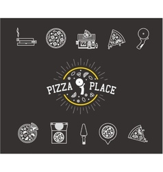 pizza icons vector image vector image
