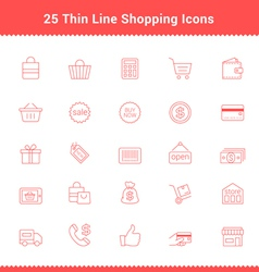 Set of Thin Line Stroke Shopping Icons vector image