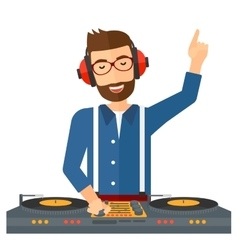 Smiling DJ with console vector image vector image