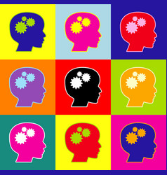 thinking head sign pop-art style colorful vector image