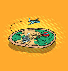 travel tourism concept pizza planet earth and vector image