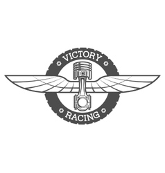 Auto emblem Piston and wings vector image vector image
