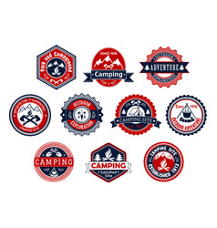 camping outdoor adventure badge for travel design vector image