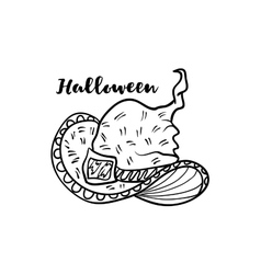 Doodle cartoon witch hat for Halloween holiday vector image