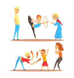 girl doing gymnastics dance with hoop juggler vector image vector image