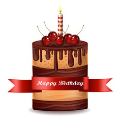 happy brithday cake chocolate cake with vector image