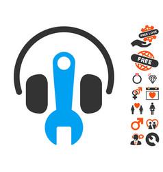 headphones tuning wrench icon with valentine bonus vector image