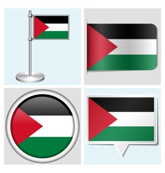 Palestine flag - sticker button label flagstaff vector image vector image