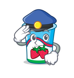 police yogurt character cartoon style vector image vector image