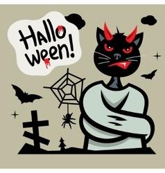 Halloween Devil Cat in straitjacket Cartoon vector image vector image