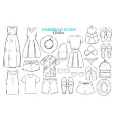 hand drawn summer wardrobe elements set vector image vector image