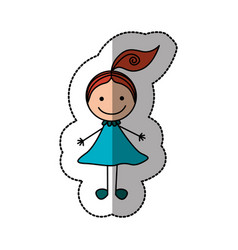 happy girl with one tail icon vector image vector image