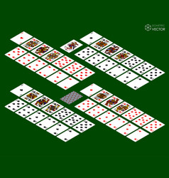 playing cards isometric set on green background vector image vector image