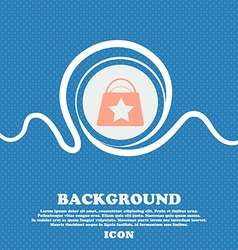 Shopping bag sign Blue and white abstract vector image