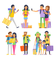 tourist group of happy people goes to vacation vector image vector image