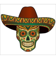 Traditional mexican scull with sombrero vector image vector image