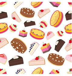 cake pastry pie seamless pattern cupcakes with vector image