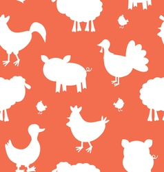 Farm animals silhouettes pattern vector image vector image