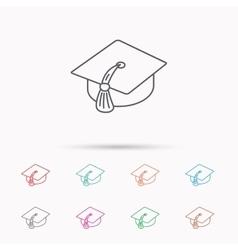 Graduation cap icon Diploma ceremony sign vector image