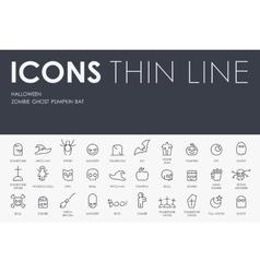 Halloween Thin Line Icons vector image