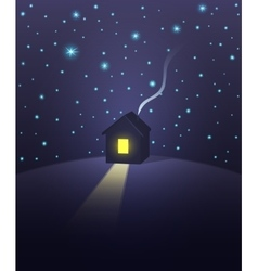 House under a starry sky vector image vector image