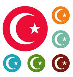 Islamic crescent moon icons circle set vector